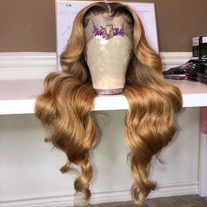 "24"" custom blonde transparent lace frontal wig"